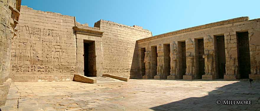 Madinat Habu Temple columns in the shape of the god Osiris.