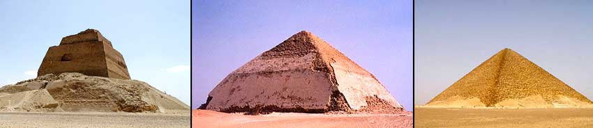 Medum pyramid surrounded by rubble - The Bent Pyramid - The Red Pyramid.