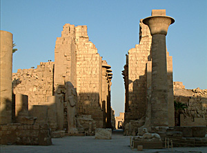 Second Pylon entrance intro the hypostyle  hall. in the fore ground is the remaining column of the Kiosk of Tahraqa